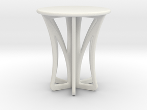 Rocking stool miniature in White Strong & Flexible