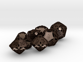 Dice Set with Decader in Matte Bronze Steel