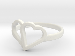Overlapping Heart Ring in White Strong & Flexible