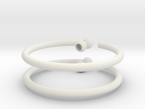 Glass Charm 2 Rings in White Natural Versatile Plastic