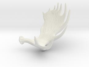 Moose Antler Pendant in White Natural Versatile Plastic
