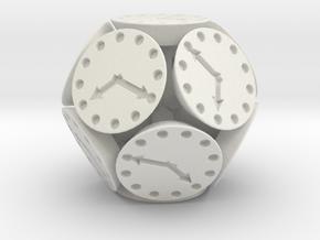 Dodclock Die (3 cm) in White Natural Versatile Plastic
