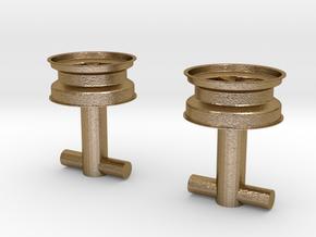 Fuchs wheel cufflink in Polished Gold Steel