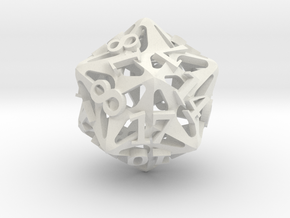 Pinwheel Die20 in White Natural Versatile Plastic