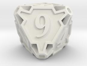 Large Premier d8 in White Natural Versatile Plastic