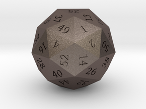 Pentakis Dodecahedral 60-sided die in Polished Bronzed Silver Steel