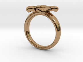 ring flower s 56 in Polished Brass