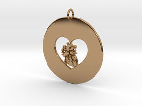 My Heart is in Your Heart Pendant in Polished Brass