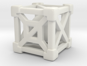 Cage 6-Sided Die - Full in White Natural Versatile Plastic