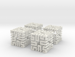 4 Springy Cubes in White Natural Versatile Plastic