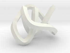small mobius figure 8 knot in White Natural Versatile Plastic
