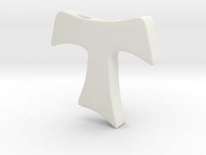 Tau cross pendant MEDIUM in White Natural Versatile Plastic