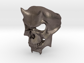 Skull Ring of DOOM in Polished Bronzed Silver Steel