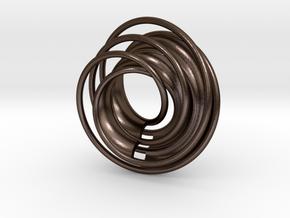 Twin Rail Mobius can-take-a-ball - Pendant in Polished Bronze Steel