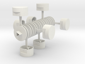 Crankshaft with Pistons in White Natural Versatile Plastic