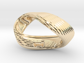 Mobius 1-Sided Die Version 2 in 14K Yellow Gold