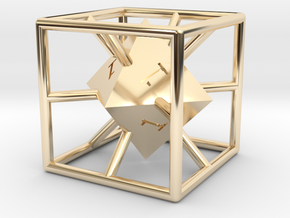 Average D6 Cage Dice in 14K Yellow Gold