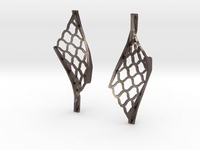 Twisted lattice girder earrings in Stainless Steel