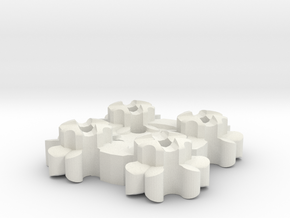 Clover Connector - Machine-Sewable Plug, Open-Chan in White Natural Versatile Plastic