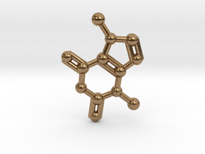 Theobromine (Chocolate) Molecule Necklace / Keycha in Natural Brass