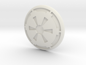 Cog Button in White Natural Versatile Plastic