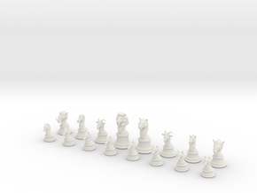 Chess Set (one player side) - Animal Kingdom in White Natural Versatile Plastic