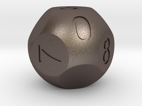 D10 3-fold Sphere Dice in Polished Bronzed Silver Steel