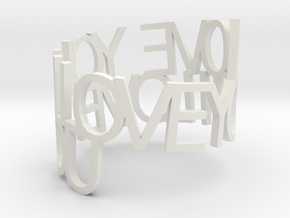 I LOVE YOU Ring Poem in White Natural Versatile Plastic
