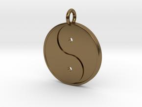 Yin Yang Pendant in Polished Bronze