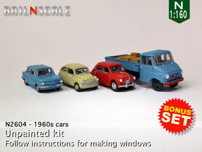 BONUS SET 1960s cars (N 1:160) in Smooth Fine Detail Plastic