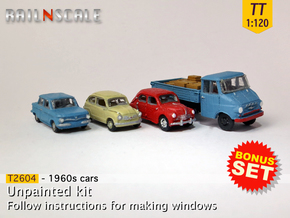 BONUS SET 1960s cars (TT 1:120) in Smooth Fine Detail Plastic