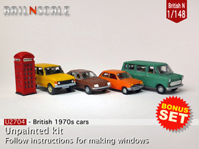 BONUS SET 1970s Traffic (British N 1:148) in Smooth Fine Detail Plastic