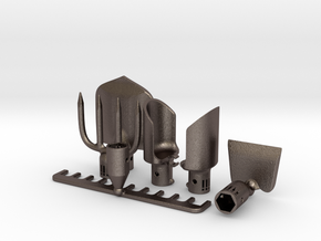Desktop Garden Tools in Polished Bronzed Silver Steel