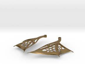 Wing Earrings - Fishhooks in Raw Bronze