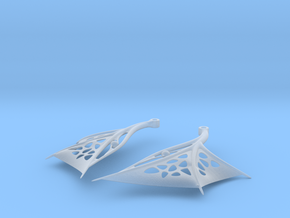 Wing Earrings - Fishhooks in Smooth Fine Detail Plastic