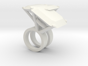 Mutant Ring no.4 in White Natural Versatile Plastic