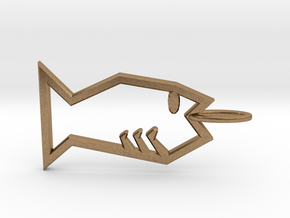 Minimalist Fish Pendant in Natural Brass