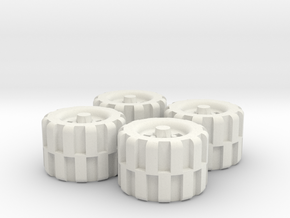 28mm Scale Off Road Tire Set in White Natural Versatile Plastic
