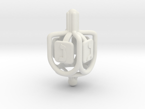 Dreidel - Rings & Pipes - v01 in White Strong & Flexible