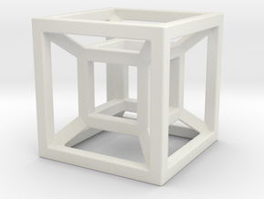4D Cube in White Natural Versatile Plastic