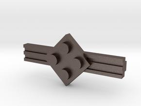 Brick Tie Clip-4 Stud in Polished Bronzed Silver Steel