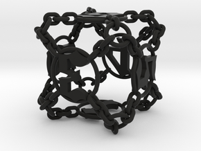 Chained Die (D6) in Black Strong & Flexible