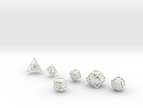 """Open"" dice set: 6 dice! in White Strong & Flexible"