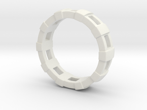 Train Tracks Ring in White Natural Versatile Plastic