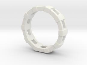 Train Tracks Ring in White Natural Versatile Plastic