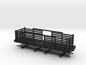 HOn30 28ft Flatcar with pulpwood rack  in Black Strong & Flexible