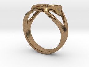 3-Heart Ring in Natural Brass