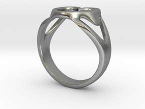 3-Heart Ring in Natural Silver