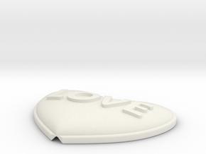 Heart Pendant Insert - LOVE in White Natural Versatile Plastic