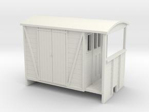 OO9 Brake van with Planked door in White Strong & Flexible